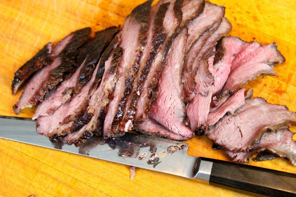 Sliced sous-vide-que bottom round roast