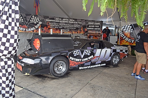 race car converted into a smoker