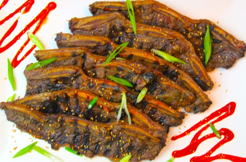 Grilled Korean style beef short ribs
