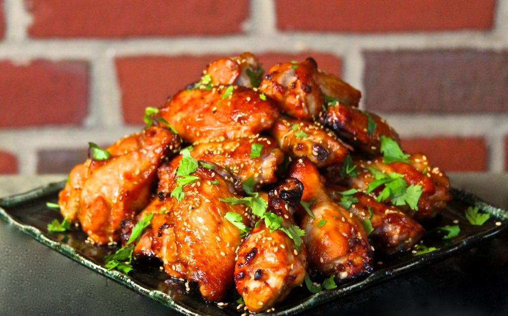 Miso wings on a plate