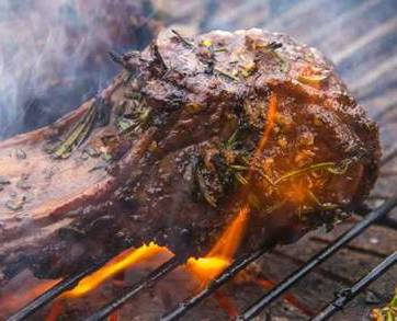 lamb chop grilled on its side