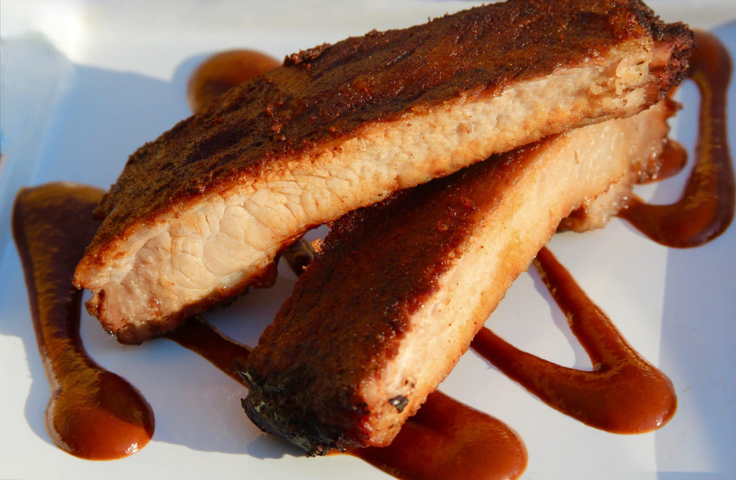 Sliced ribs on a plate