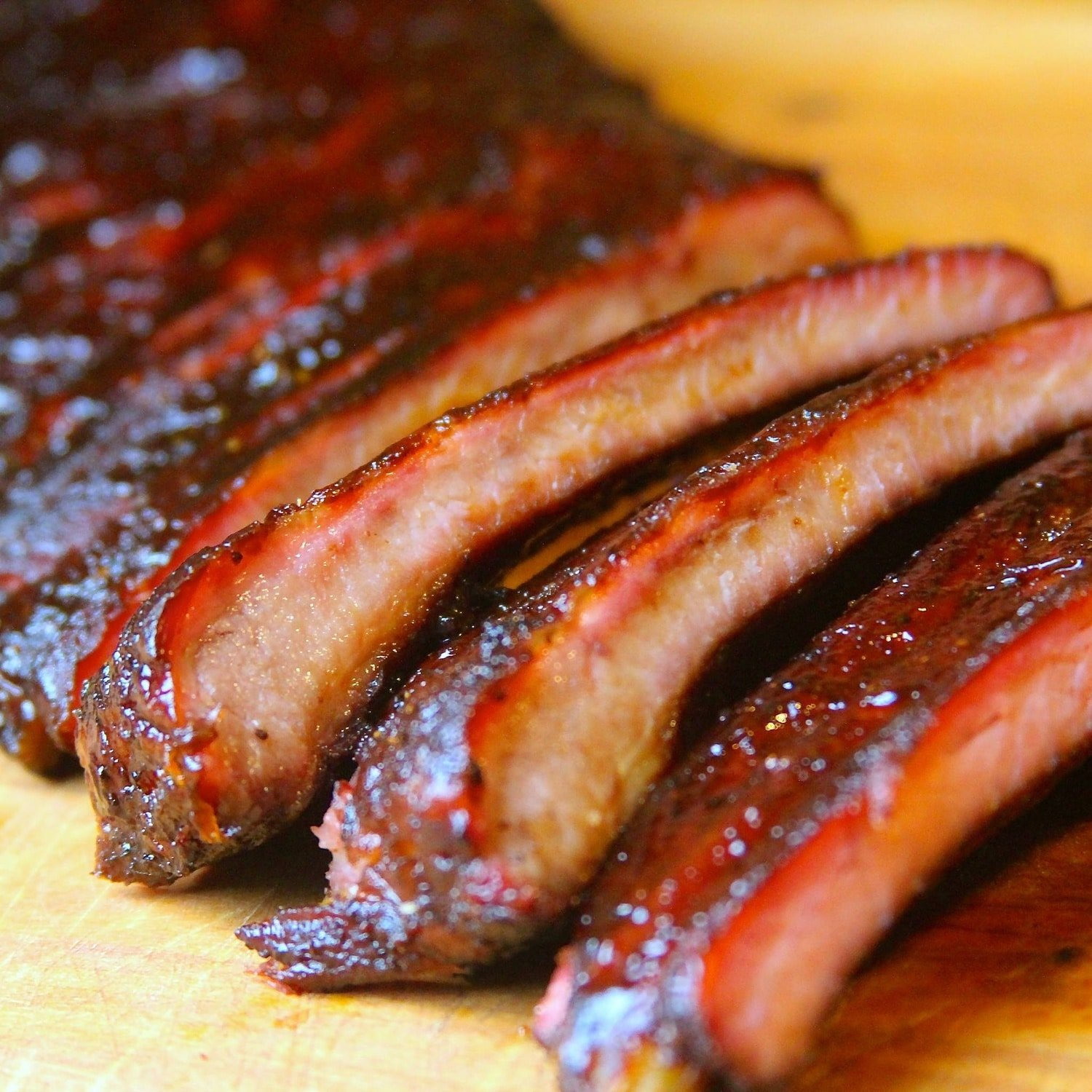 Sliced competition pork ribs
