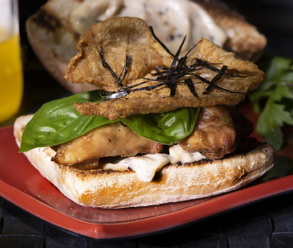 chicken skin and chicken thigh sandwich