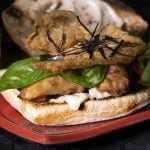 chicken skin and chicken thigh sandwich