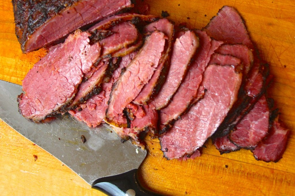 Sliced sous vide and smoked pastrami