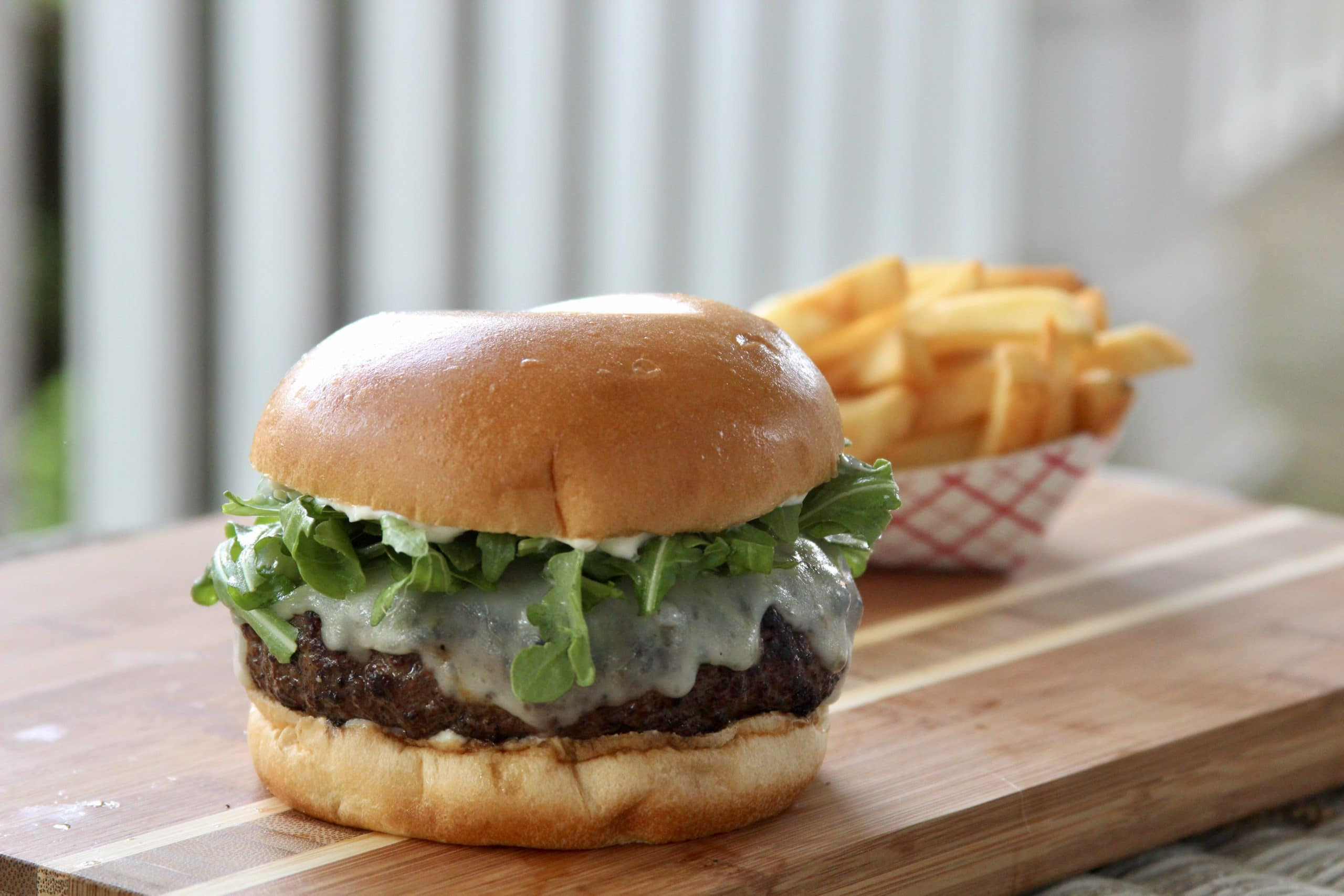 Kangaroo burger with a side of fries