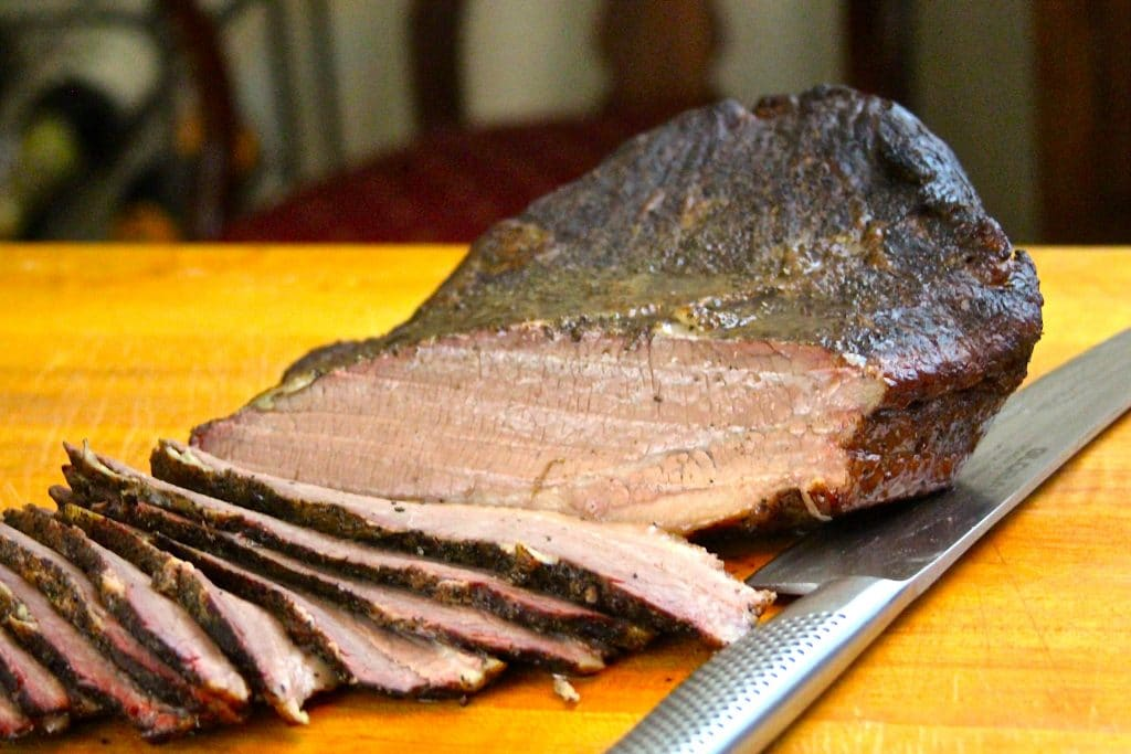Sliced sous vide and smoked brisket