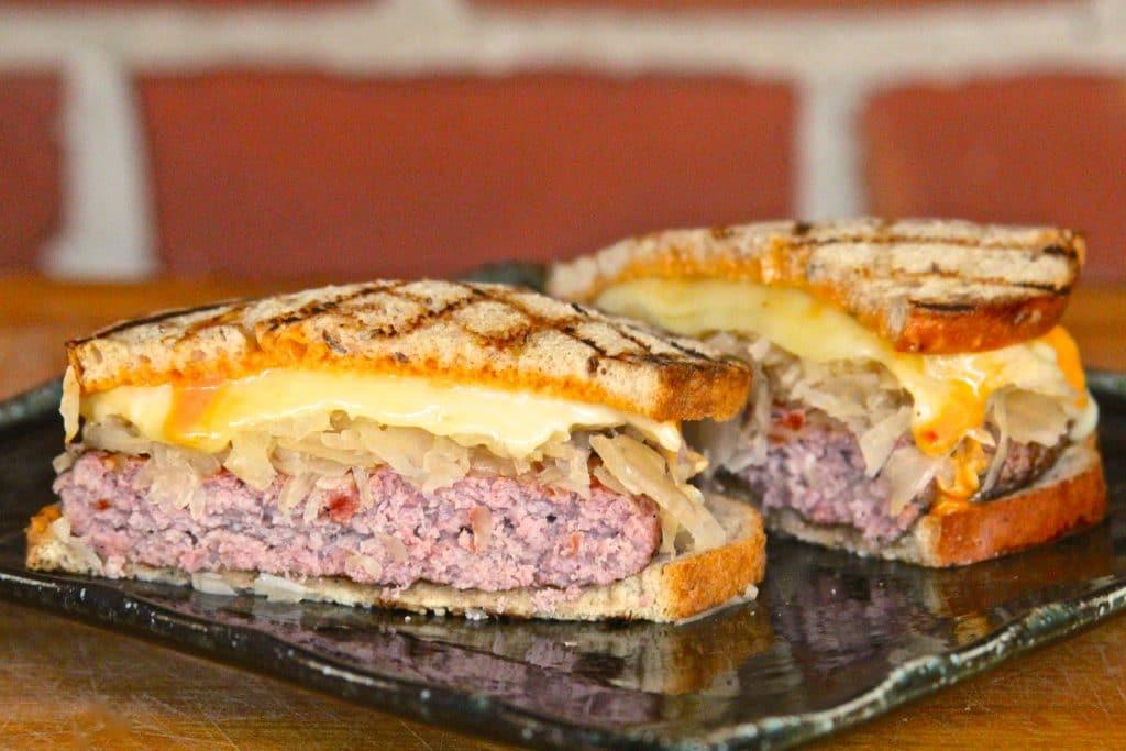 Reuben burger plated