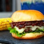 Bacon jam burger with corn