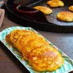 Plated griddle corn cakes