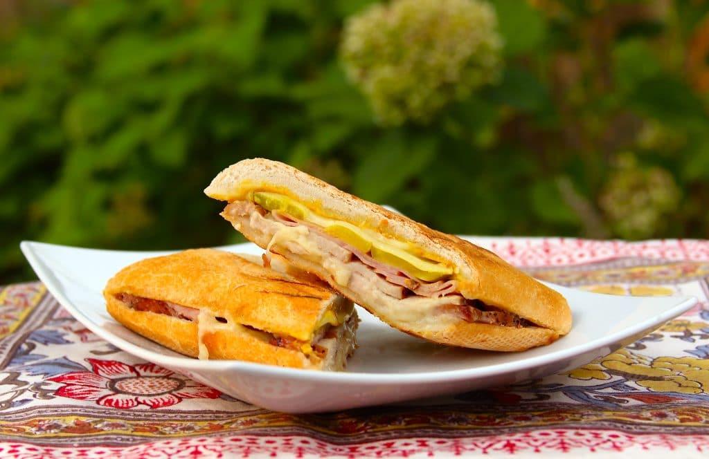 Pork loin Cuban sandwich plated