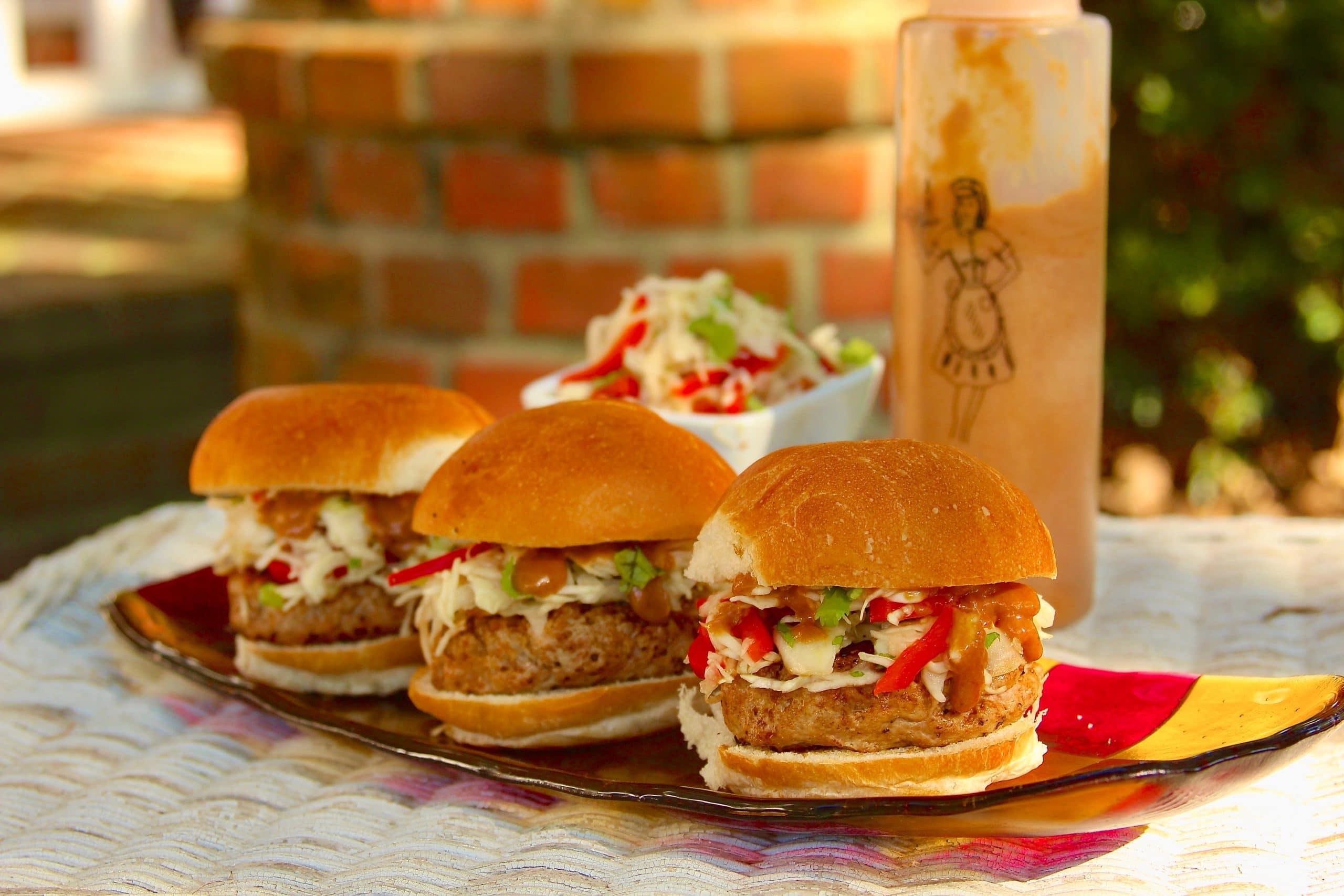 Pork satay burger sliders on a tray