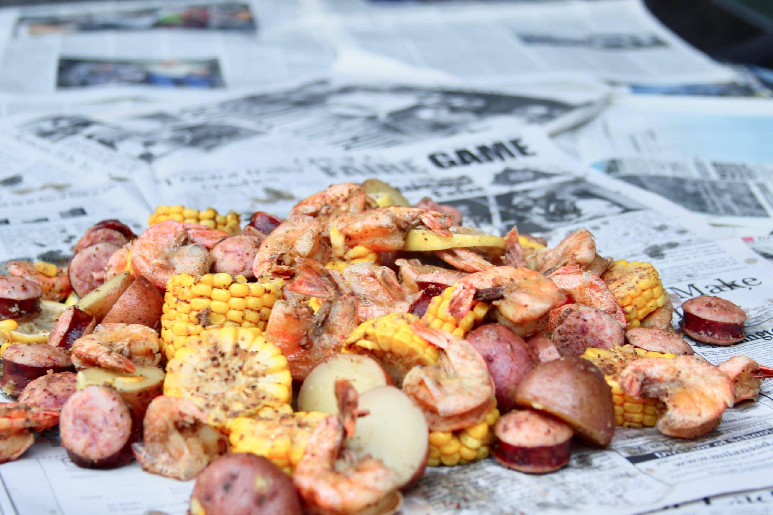 Boiled shrimp on newspaper