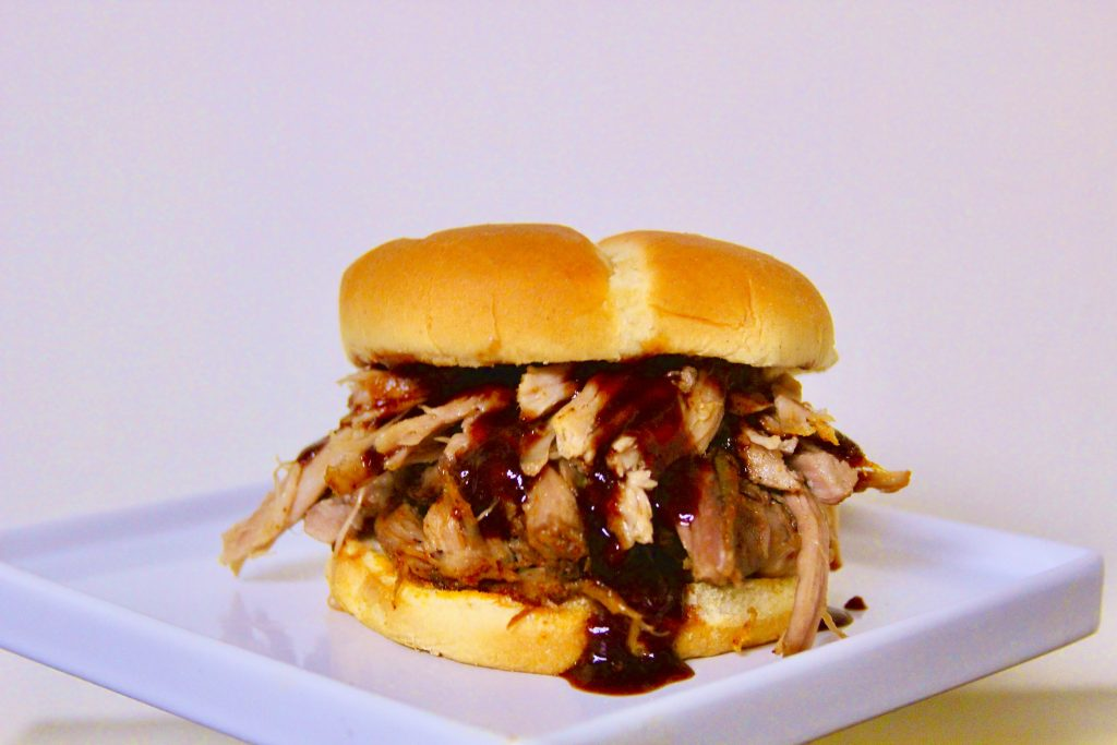Slow cooker pulled pork sandwich with barbecue sauce