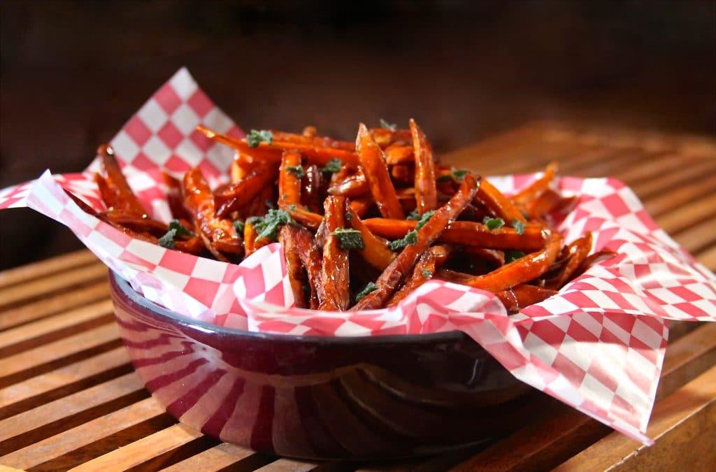 Sweet potato fries with spicy honey