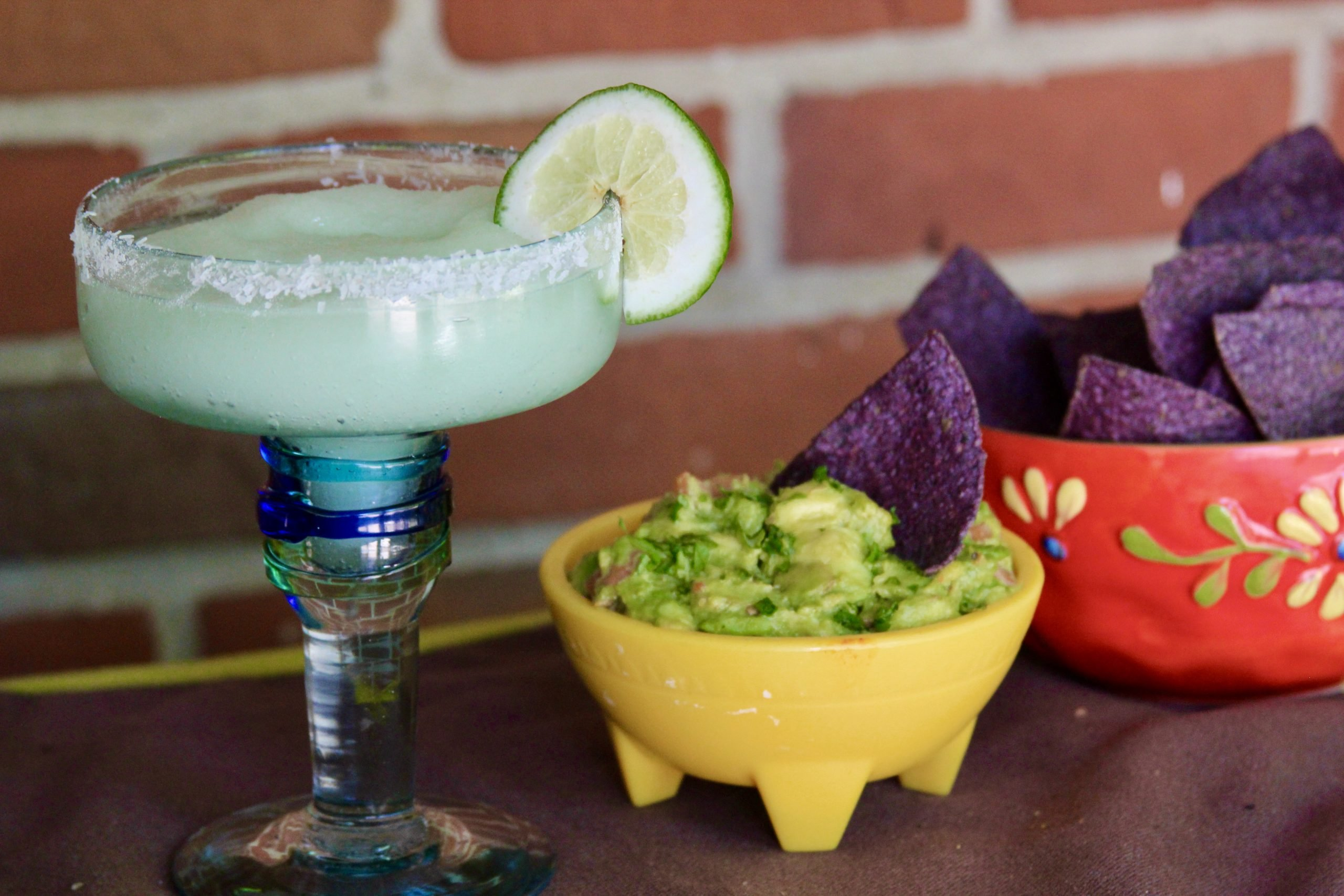 Grilled lime margarita with guacamole and chips