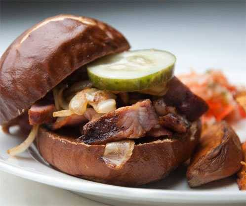 Rib sandwich on a plate