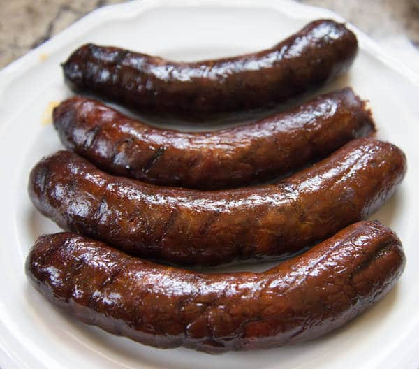 Grilled andouille sausage on a plate