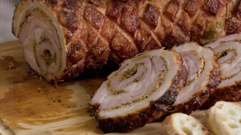 Porchetta slice showing off spiral