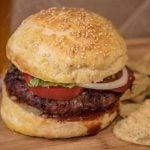 Hamburger on homemade brioche bun