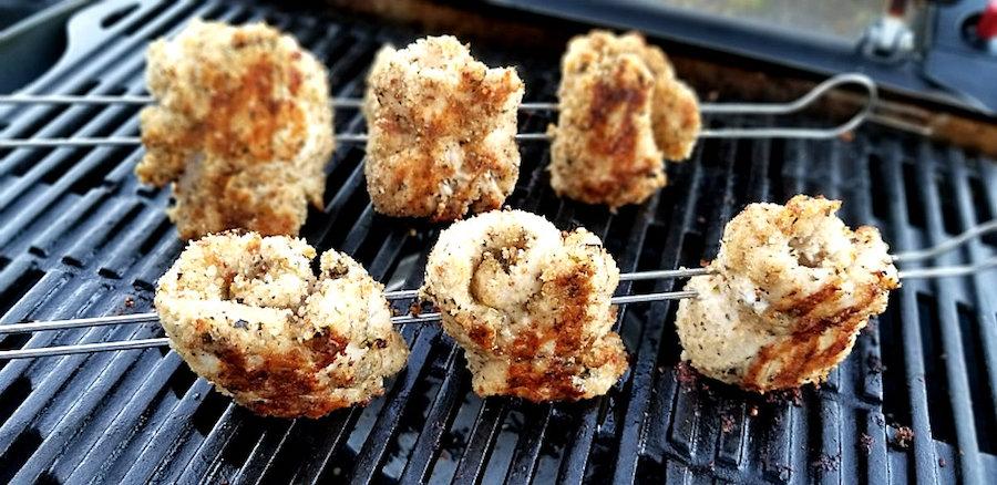 Chicken spiedini on the grill