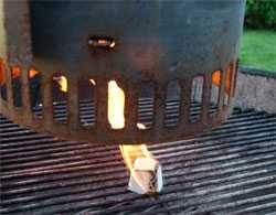starting charcoal chimney on a grill