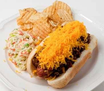 Cincinnati chili cheese hot dog plated