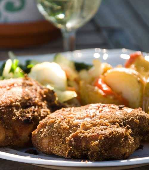 Plated breadcrumb crusted chicken