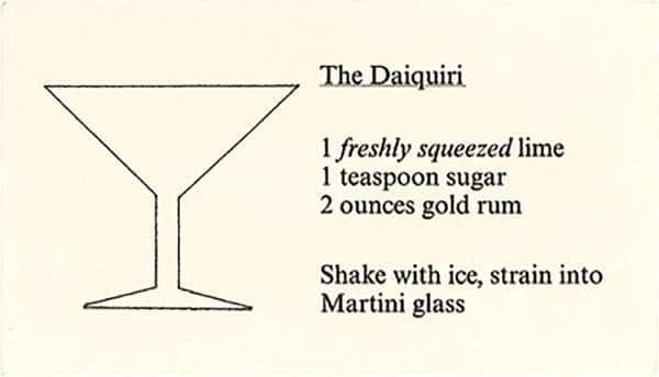 Daiquiri recipe card