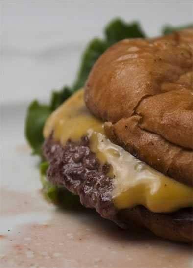 Hamburger with cheese on a bun