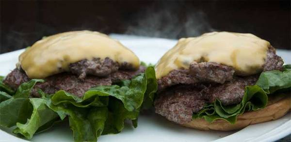 Double cheeseburgers on a plate