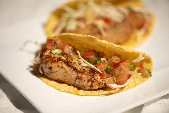 Grilled fish taco in a corn tortilla
