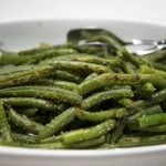 green beans in a white dish