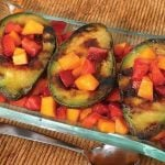 Plated grilled avocados with fruit salsa