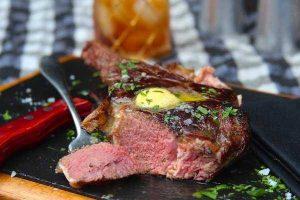 Bison ribeye steak plated