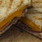 Gooey grilled cheese sandwich halves