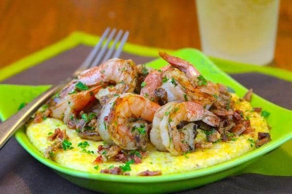 grilled shrimp atop grits