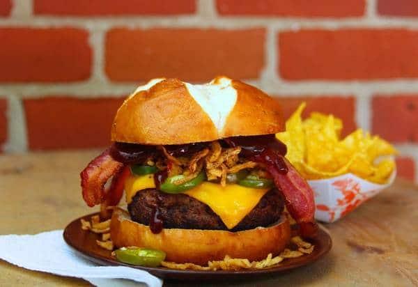 Jalapeno bacon cheeseburger plated