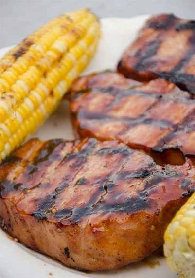Jazzy Hog BBQ sauce glazed pork chops