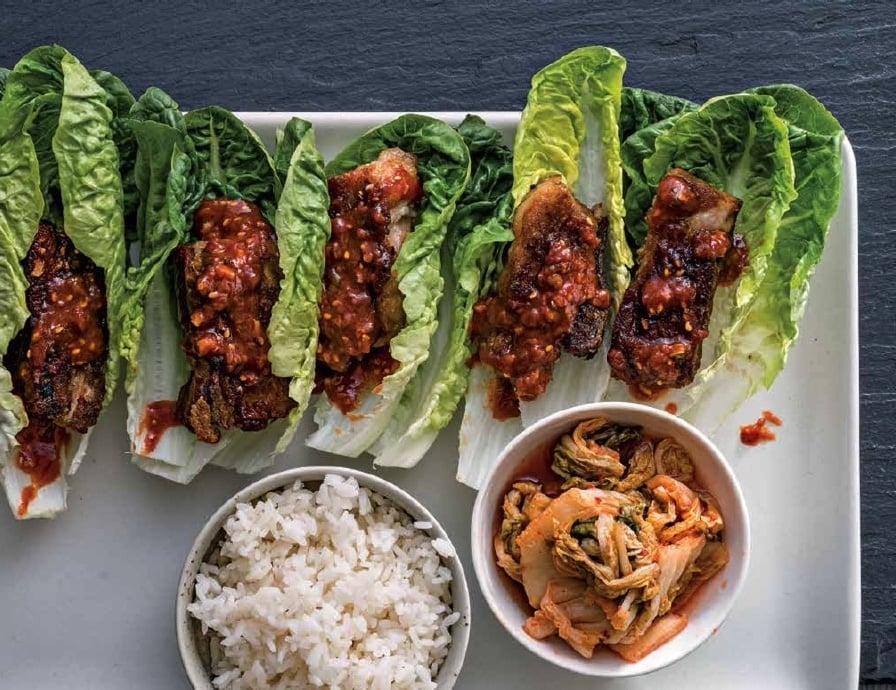 ssam jang on Korean grilled pork belly