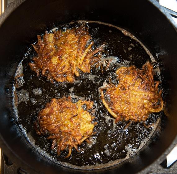latkes in Dutch oven