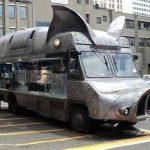 Bus tuned into a pigmobile