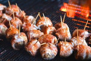 Smoking bacon wrapped meatballs