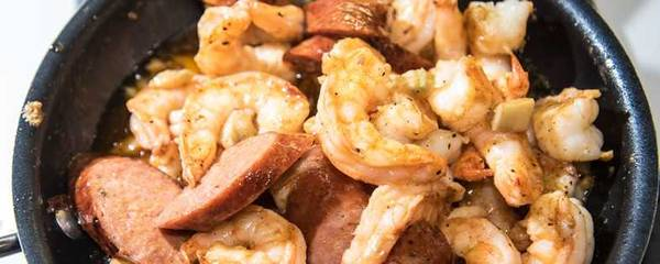 Shrimp and andouille sausage in a bowl