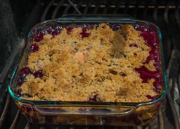 Peach Blueberry Crisp on the grill