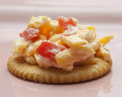 Pimento cheese on a cracker