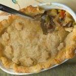 Turkey pot pie in serving dish