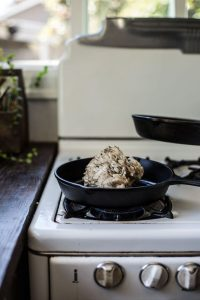Maitake mushroom in cast iron skillet