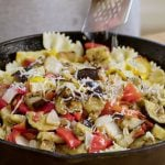 Grilled ratatouille over pasta